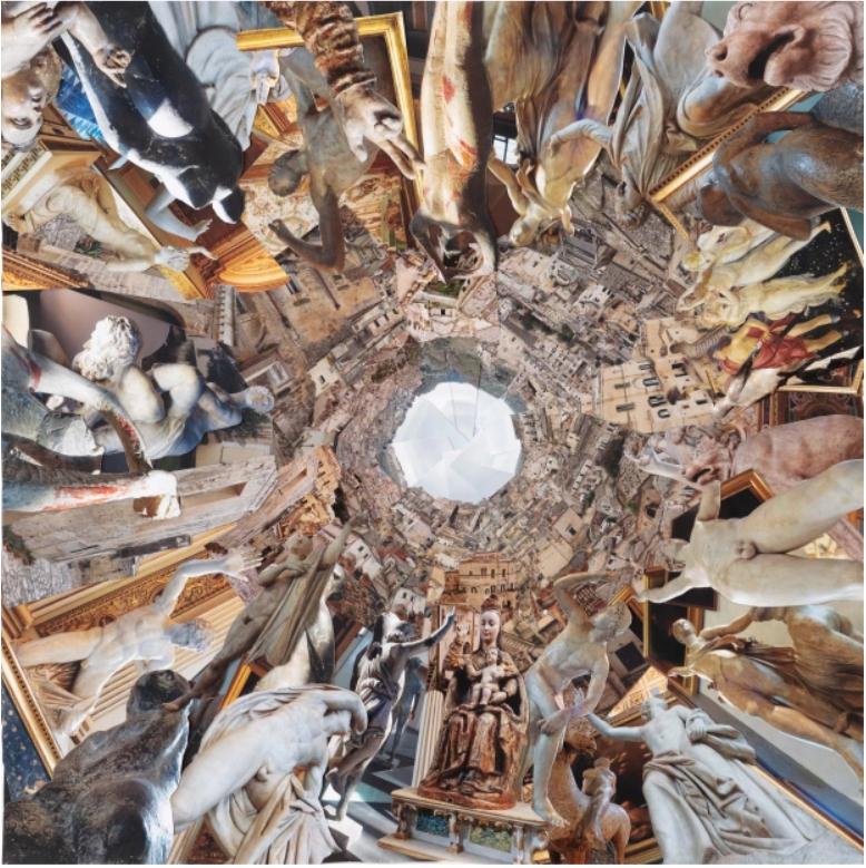 """PETRA LINDENMEYER Kunst 2018    BESTICKTE FOTOCOLLAGEN, 100 X 100 CM """"FLORENTINER IN MATERA"""")"""