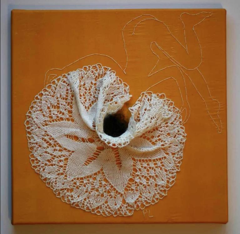 """Petra Lindenmeyer Kunst Serie Spitzendeckchen  """"Ausbruch"""" 30 x 30 cm"""